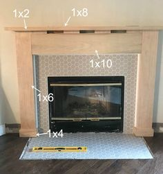 Fireplace DIY - Drab to Fab Fireplace makeover. This blogger updated her 90s fireplace faux marble with modern tile and a surround with mantel. Click through for full step by step tutorial.