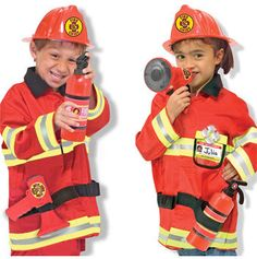 Efficient Children Fire Chief Role Play Costume Halloween Cosplay Helmet Set 5 Pieces For Dress Up Accessories Elegant And Sturdy Package Tool Toys