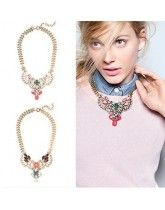 Delicate Glisten Gem Flower Classic Alloy Necklace High Quality
