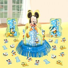 Disney Baby Mickey Mouse 1st Birthday Party Table Centerpiece Decoration Kit #Disney