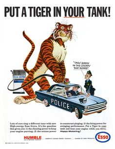 Esso Put a Tiger in Your Tank Police Car - Metal Advertising Wall Sign - Retro Art Photo Vintage, Vintage Ads, Vintage Posters, Vintage Labels, Vintage Iron, Vintage Makeup, Vintage Signs, Old Advertisements, Advertising Signs