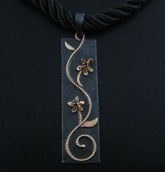 Black and Gold Rectangular Floral Pendant 14K by blazerart  Etsy