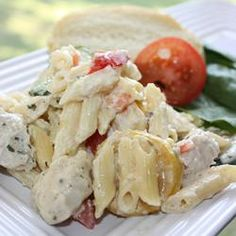 """Summer Squash Chicken Alfredo 