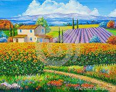 sunflower-lavender-fields-original-oil-painting-canvas-53384859.jpg (400×320)