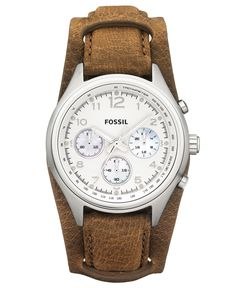 Fossil Watch, Women's Chronograph Flight Tan Leather Strap 38mm CH2795 - Women's Watches - Jewelry & Watches - Macy's