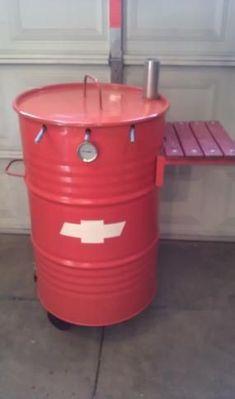 55 gallon drum converted into smoker.