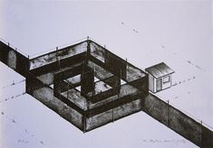 Available for sale from Tamarind Institute, Chris Ballantyne, Spiral Gate Two-color Lithograph, 8 × 11 in Memorial Architecture, Drawing Interior, Collage Drawing, Black And White Lines, Inside Outside, Flat Earth, Built Environment, Interior And Exterior, Monochrome