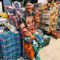 Baddie Belieber: In the photo above, Baddie Winkle sits on top of beer boxes while she sports a sweatshirt with Justin Beiber's face on it