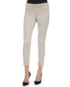 Anja Cuffed Cropped Jeans, Concrete Dust by J Brand Jeans at Neiman Marcus.