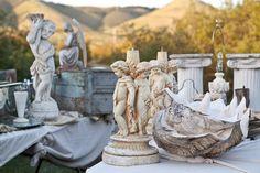 white statuary & shells.