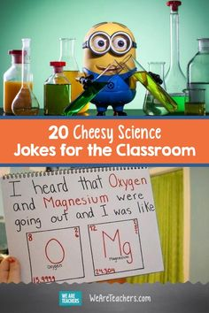 20 Cheesy Science Jokes for the Classroom. Teaching science can get pretty heavy, and result in students having brain cramps. Try taking a break in your lesson, and share some of these great science jokes with your students. Science Quotes, Science Humor, Science Lessons, Science Ideas, Biology Humor, Chemistry Jokes, Grammar Humor, Chemistry Class, Ap Biology
