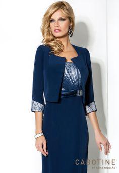 DONNA 6218  Conjunto vestido de fiesta y chaqueta en triacetato y encaje con detalles de cristal