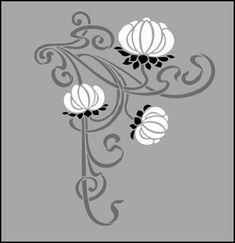 Art Nouveau stencils from The Stencil Library. Buy from our range of Art Nouveau stencils online. Page 4 of our Art Nouveau motif stencil catalogue. Stencil Patterns, Stencil Painting, Stencil Designs, Pattern Designs, Art Nouveau Pattern, Art Nouveau Design, Stencils Online, Art Nouveau Illustration, Jugendstil Design