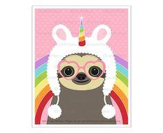 Animal Art Prints - Sloth Wearing Fuzzy Unicorn Hat Wall Art - Funny Animal Drawing - Rainbow Wall Decor - Unicorn Wall Art - Sloth Art - List of affordable cars