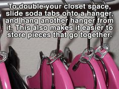 Life Hacks That Will Change Your Daily Routine 15 Fashion Life Hacks That Will Change Your Daily Routine - Double Closet Space With Fashion Life Hacks That Will Change Your Daily Routine - Double Closet Space With Hangers Armoires Diy, Sewing Room Storage, Double Closet, Soda Tabs, Making Life Easier, Neat And Tidy, Clothing Hacks, Closet Space, Getting Organized