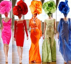 Over-side Flower Fascinators for the couture and fashion forward gal.