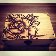 pyrography. woodburning. traditional rose...tattoo flash. $30.00, via Etsy.