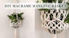 MACRAME HANGING BASKET TUTORIAL (DIY PLANT HANGER) Macrame Plant Hanger Patterns, Macrame Plant Holder, Macrame Plant Hangers, Macrame Patterns, Rope Plant Hanger, Hanging Baskets, Macrame Owl, Macrame Knots, Crochet Handbags