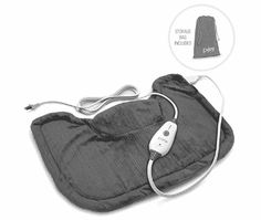 Pure Enrichment PureRelief Neck and Shoulder Heating Pad (Charcoal Gray) - Fast-Heating Technology with Magnetic Neck Closure, 4 Heat Settings, Moist Heat Therapy Option and Convenient Storage Bag Shoulder Pain Relief, Neck And Shoulder Pain, Best Heating Pad, Heating Pads, Shoulder Heating Pad, Madison Brown, Moist Heat, Dry Heat, Bag Storage
