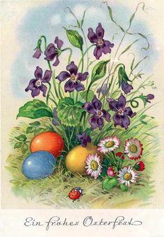Очаровательная открытка с весенними цветами, крашеными яйцами и божьей коровкой