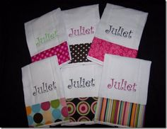 All About Machine Embroidery Monograms and Lettering- personalized burp cloths