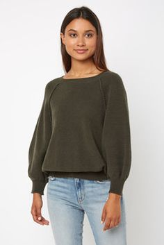 adf9aa638b Neely Balloon 3 4 Sleeve Knit Pullover in OLIVE Balloons