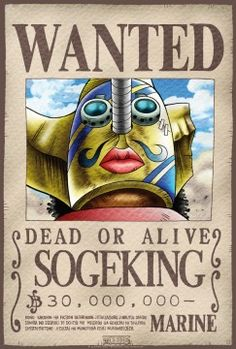 Poster One Piece Wanted Sogeking (52X35)