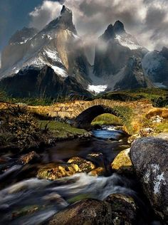 Magickal!  Mountain Stream, Torres Del Paine, Chile — with Carol Osorio Mahtani and Ana Luz Segovia.