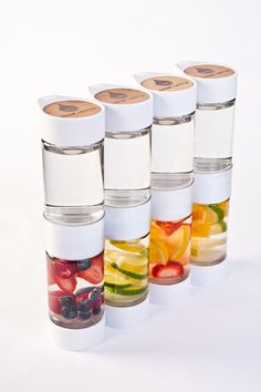 Define Bottle - a new eco chic fruit infused water bottle to take on the go. Unique strainer piece in the middle keeps the fruit, pulp and seeds away from your mouth. Beautiful, easy to clean and easy to use!