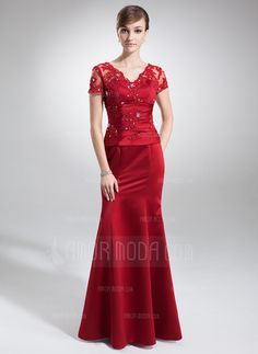 Mother of the Bride Dresses - $155.99 - Trumpet/Mermaid V-neck Floor-Length Satin Mother of the Bride Dress With Lace Beading (008005754) http://amormoda.com/Trumpet-Mermaid-V-neck-Floor-length-Satin-Mother-Of-The-Bride-Dress-With-Lace-Beading-008005754-g5754