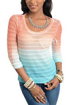 Trendy Knit Striped Sheer Long Sleeve Ombre Top