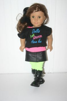 Dolls just wanna have fun 4 piece outfit to fit your 18 inch american girl or similar doll, skirt, tank top, t-shirt, leggings