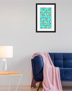 FLAMINGOS MEMPHIS FRAMED POSTER  Seamless tropical pattern, pink flamingo on retro memphis background. Pop funny colors. From ink pen hand drawing by DesigndN