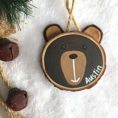 Personalised Woodlands Animal Wood Slice Art Childrens Etsy Happy New Year Christmas Ornament Crafts, Wood Ornaments, Rustic Christmas, Holiday Crafts, Christmas Crafts, Christmas Decorations, Beach Christmas, Christmas Tree, Wood Slice Crafts