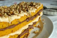 Layered Pumpkin Walnut Cake with Caramel & Chocolate Frostings