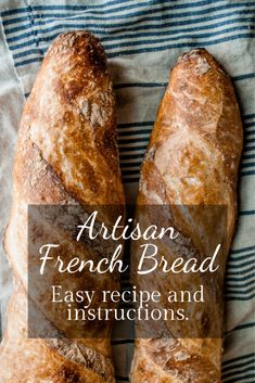 Easy Artisan French Bread Four ingredients, no experience required for most amazing and beautiful bread you've ever made. You will be delighted by how truly easy it is to make this heavenly chewy, crispy crust, no-knead french bread. Artisan French Bread Recipe, Artisan Bread Recipes, Zucchini Bread Recipes, Bread Machine Recipes, Easy Bread Recipes, Banana Bread Recipes, Baking Recipes, French Bread Recipes, Homemade French Bread
