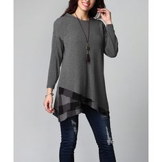 Reborn Collection Charcoal Buffalo Check Asymmetrical Hem Hooded Tunic ($40) ❤ liked on Polyvore featuring plus size women's fashion, plus size clothing, plus size tops, plus size tunics, plus size, plus size long tops, checkered top, long tunics and plus size long tunics