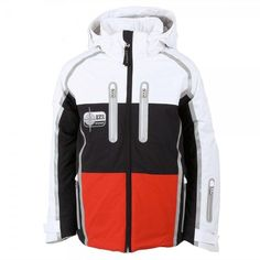 e855a069c3b Bogner Elgo Boys Ski Jacket in White with Black and Red