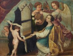 Patron Saint Of Music, Santa Cecilia, Hieronymus Bosch, Printable Bible Verses, Angels Among Us, Old Testament, Patron Saints, Cherubs, Christian Art