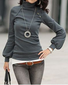 Stylish Turtle Neck Long Lantern Sleeve Button Design Women's T-Shirt $12.76