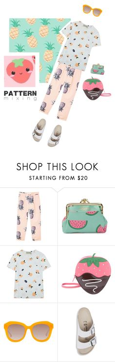 """""""Pattern Mixing"""" by effekiara ❤ liked on Polyvore featuring MANGO, Buxton, Être Cécile, Kate Spade, Alice + Olivia, Birkenstock and patternmixing"""
