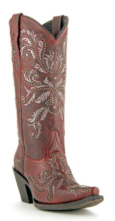 Womens Lucchese Oklahoma Angel Boots Red #M5715