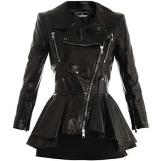 Alexander McQueen Waterfall peplum leather jacket (€2.460) ❤ liked on Polyvore featuring outerwear, jackets, coats, tops, leather jackets, genuine leather jackets, fitted jacket, alexander mcqueen, waterfall jacket and leather waist belt