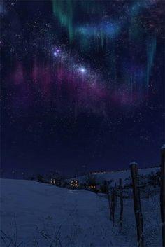 Quando a astronomia se mistura com a arte. Bela aurora boreal nos confins gelados do planeta.