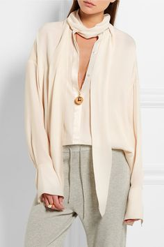 Cream silk crepe de chine and satin Concealed button fastenings through front 100% silk Dry clean Made in Italy