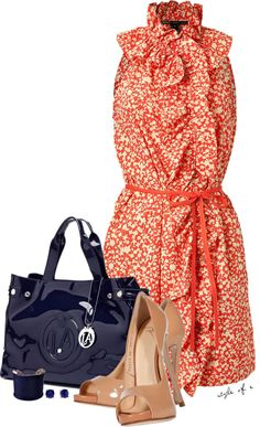 """""""Floral Dress with Navy Accents"""" by styleofe on Polyvore"""