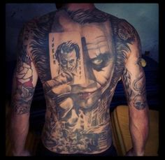 Joker card tattoos invoke something centuries old. The transformation into a completely different person is one example of a Joker tattoo's meaning. Boys With Tattoos, Cool Back Tattoos, Back Tattoos For Guys, Badass Tattoos, Great Tattoos, Beautiful Tattoos, Body Art Tattoos, Sleeve Tattoos, Tatoos