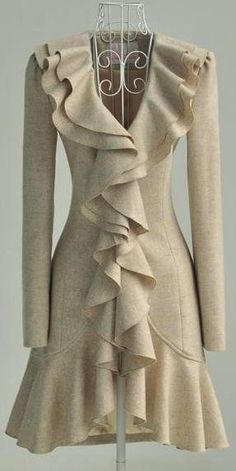 Beige coat dress--I freaking love this!! A coat like this would be aweosme! (but would it be possible?)