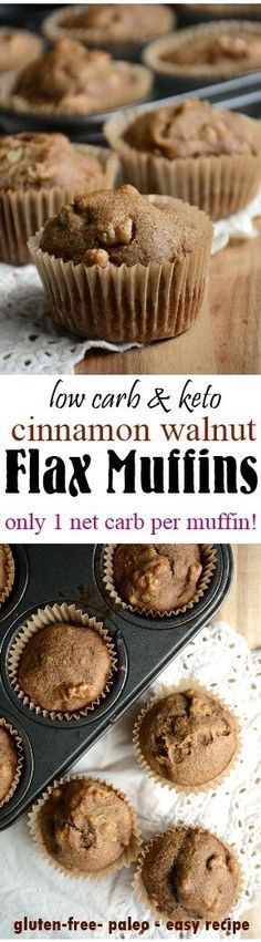 A low carb cinnamon walnut flax muffin to fuel you through the day! It's grain-free, paleo, and has a wonderful texture, and not too flaxy tasting either!