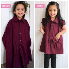 DIY - Refashioned / Upcycled Adult Work Shirt to Toddler Tunic , man's shirt to toddler dress Diy Clothes Refashion, Diy Clothing, Sewing Clothes, Men Clothes, Men's Shirt Refashion, Refashioning Clothes, Tunic Shirt, Flannel Shirt, Toddler Dress